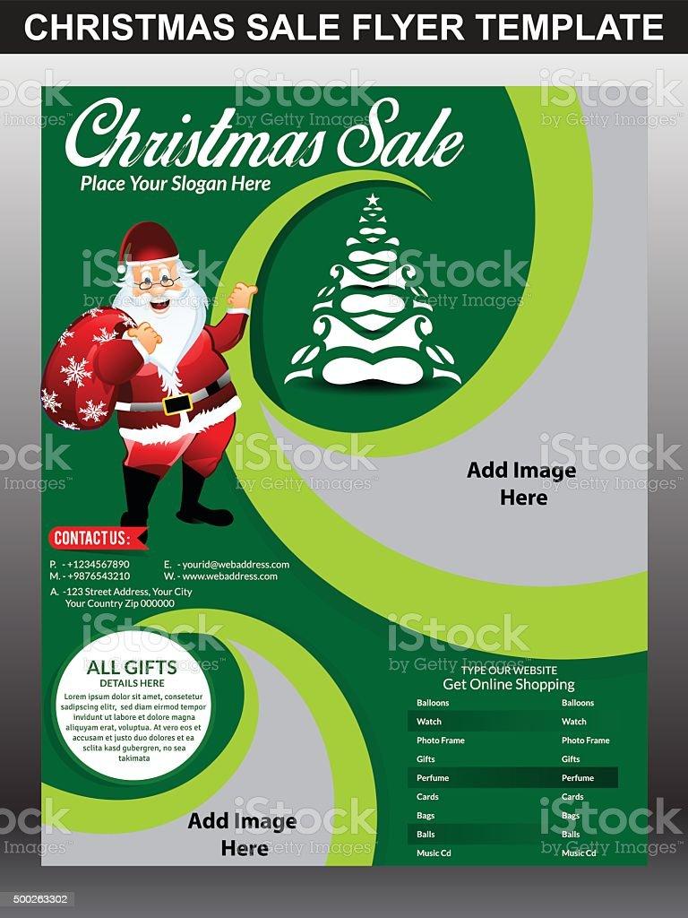 Christmas sale flyer template with Santa Claus vector illustration vector art illustration