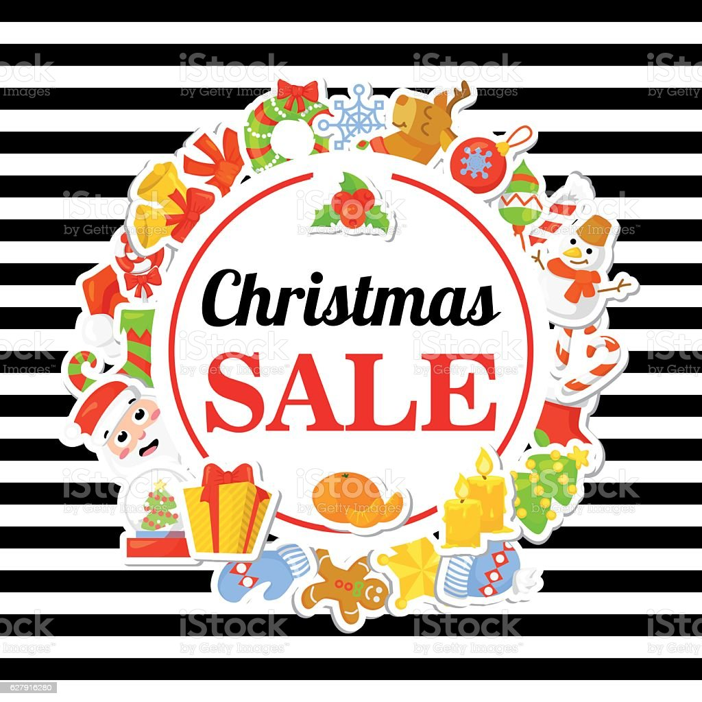 Christmas SALE. Poster, banner with stickers. Cartoon style. Trendy background vector art illustration