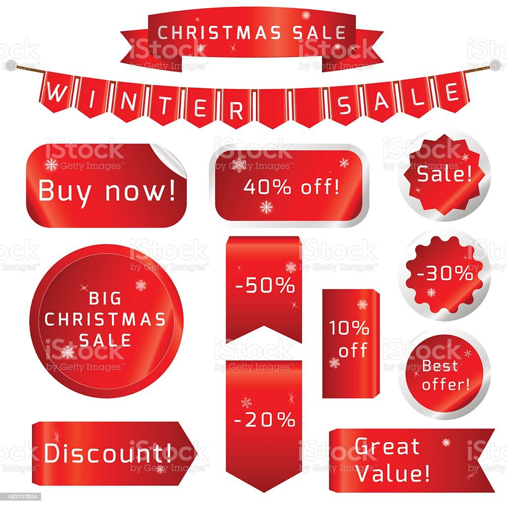 Christmas sale Ribbons Set isolated On White Background vector art illustration