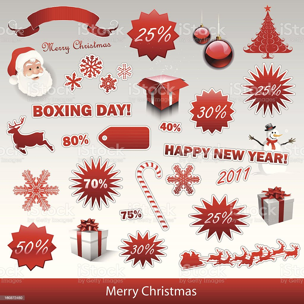 Christmas sale tags and boxing day royalty-free stock vector art