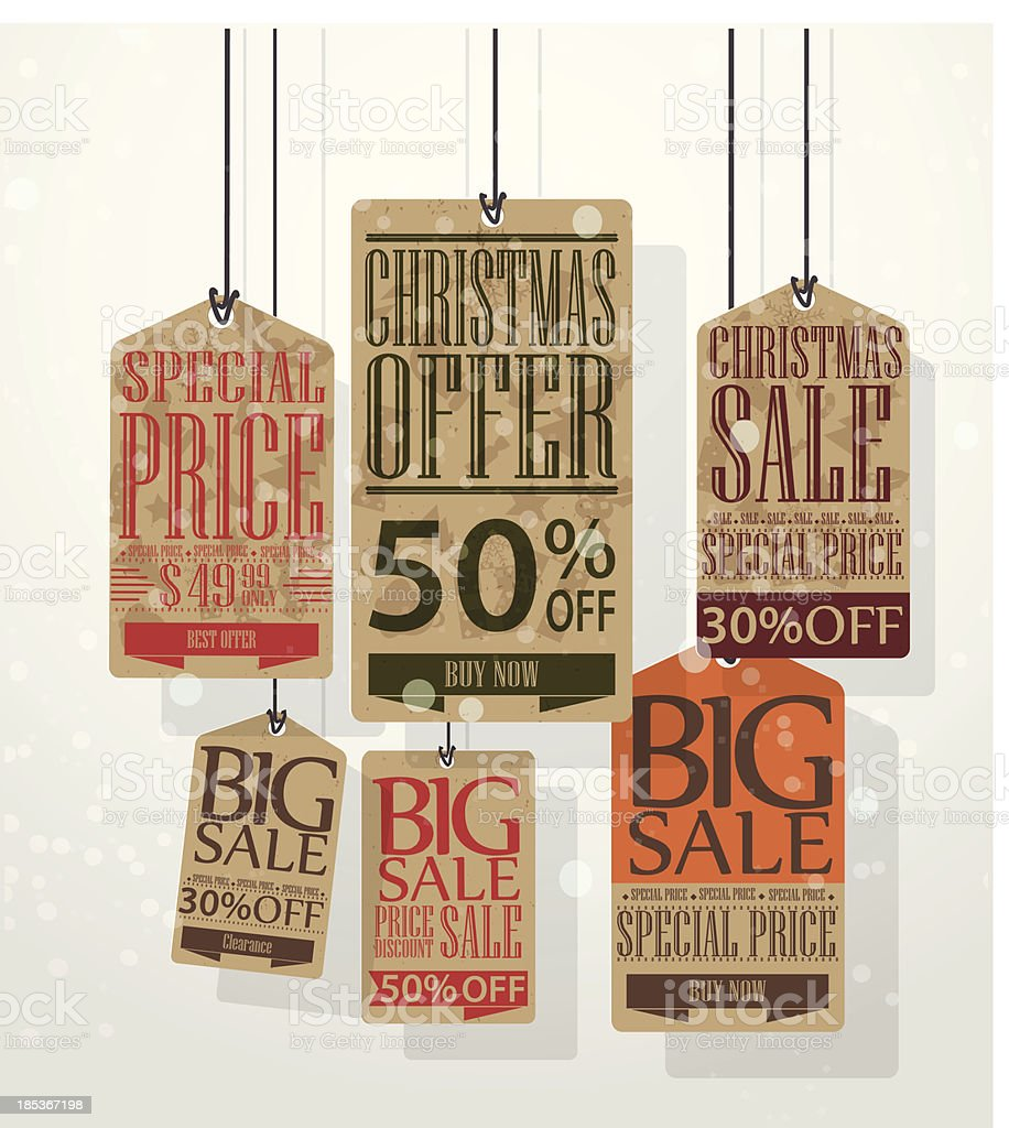 Christmas sale tags. Vintage style labels royalty-free stock vector art