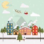 Christmas santa claus and reindeer snow moon night vector