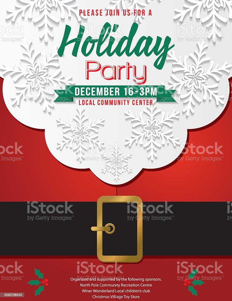 Christmas Santa Claus Beard and Belly Holiday Party Invitation vector art illustration
