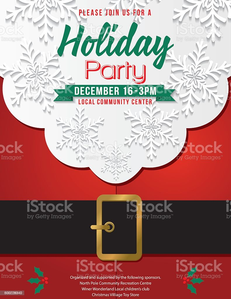 Christmas Santa Claus Beard and Belly Holiday Party Invitation vector art illustration