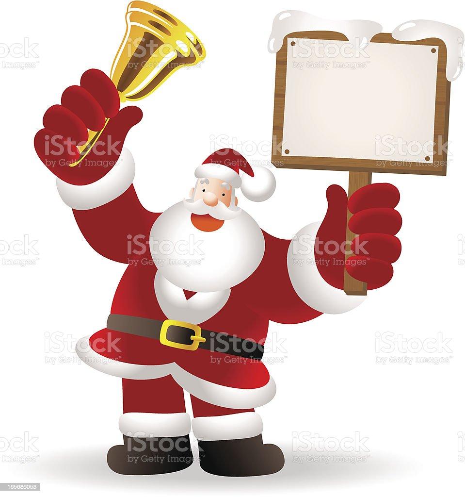 Christmas: Santa Claus Shaking Jingle Bell and holding blank sign vector art illustration
