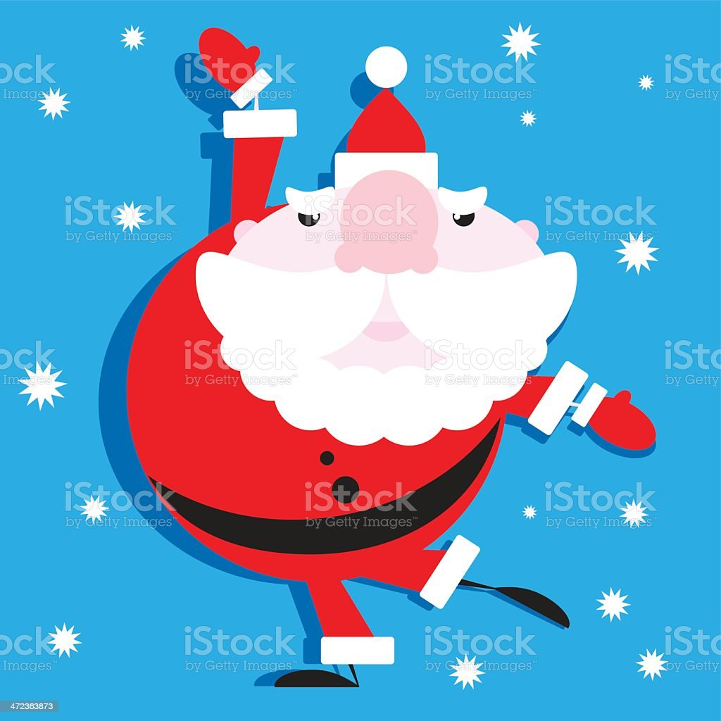 Christmas Santa Dancing Up A Storm royalty-free stock vector art