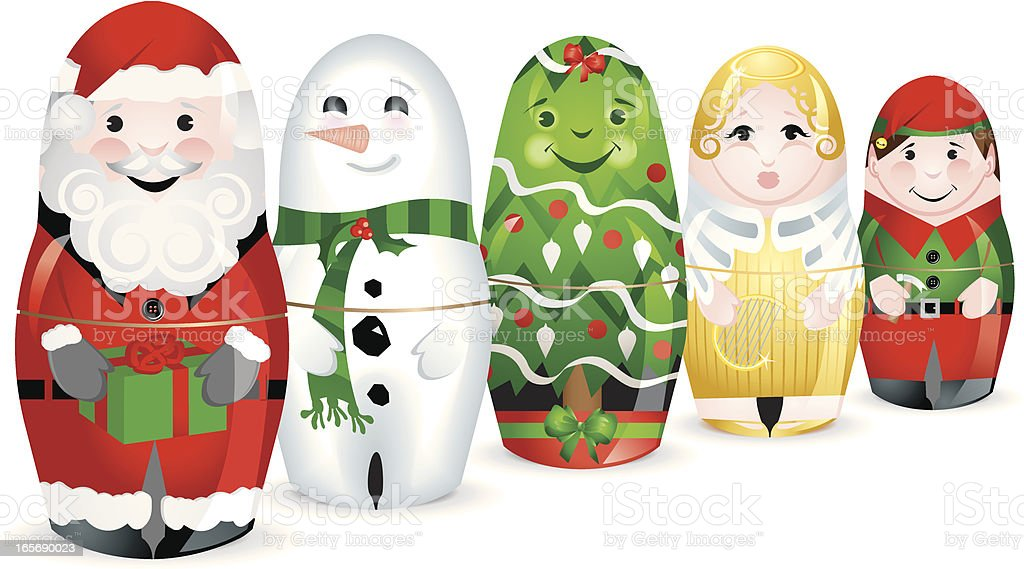 Christmas Santa tree elf snowman angel Stacking Dolls set royalty-free stock vector art