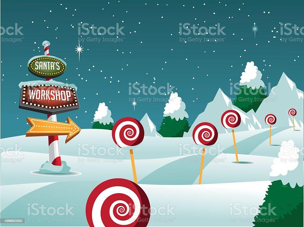 Christmas Santa's Workshop sign snowy scene. vector art illustration