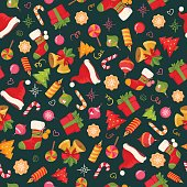 Christmas seamless background pattern with objects