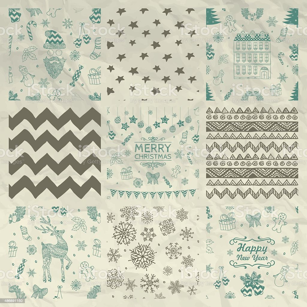Christmas Seamless Background Set on Crumple Paper vector art illustration