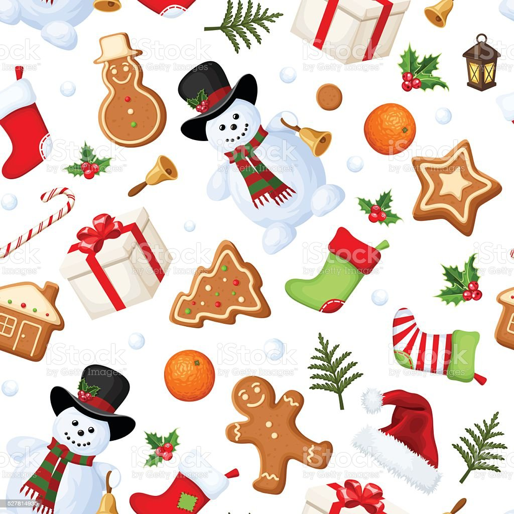 Christmas seamless background. Vector illustration. vector art illustration