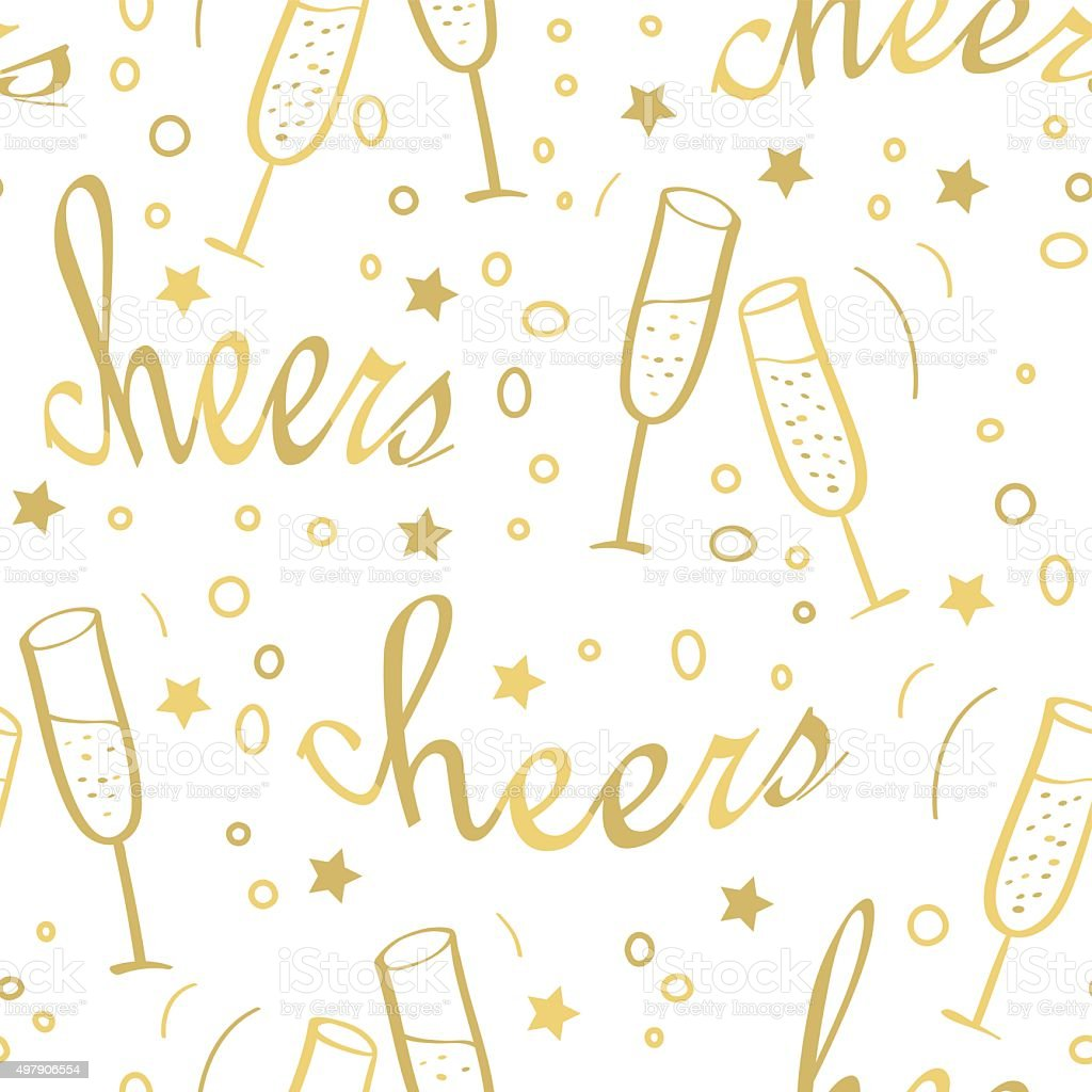 Christmas seamless background with champagne. vector art illustration