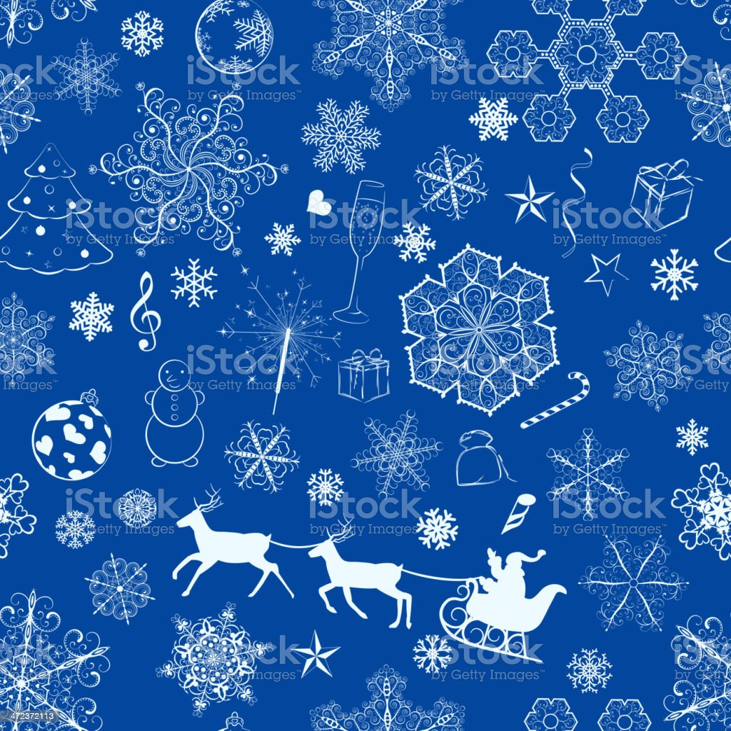Christmas seamless blue pattern royalty-free stock vector art