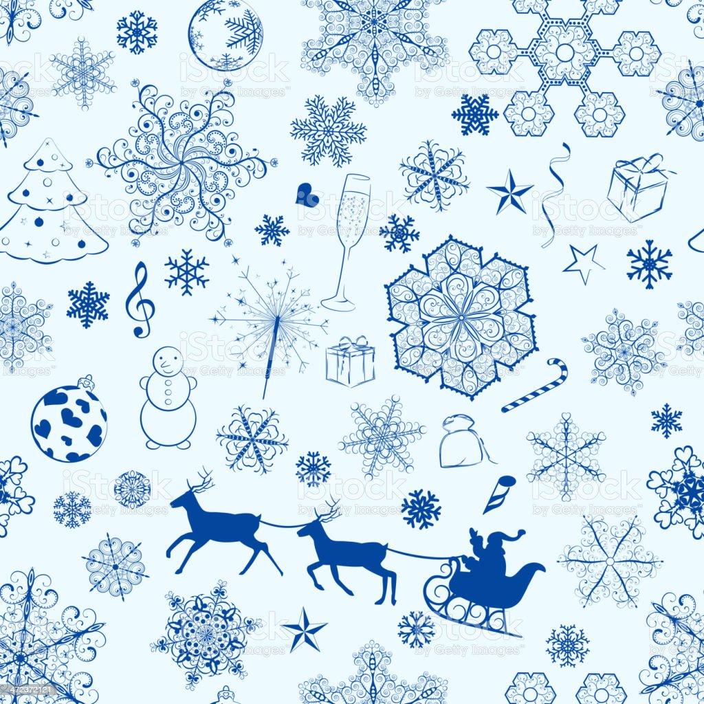 Christmas seamless blue pattern royalty-free stock vector art