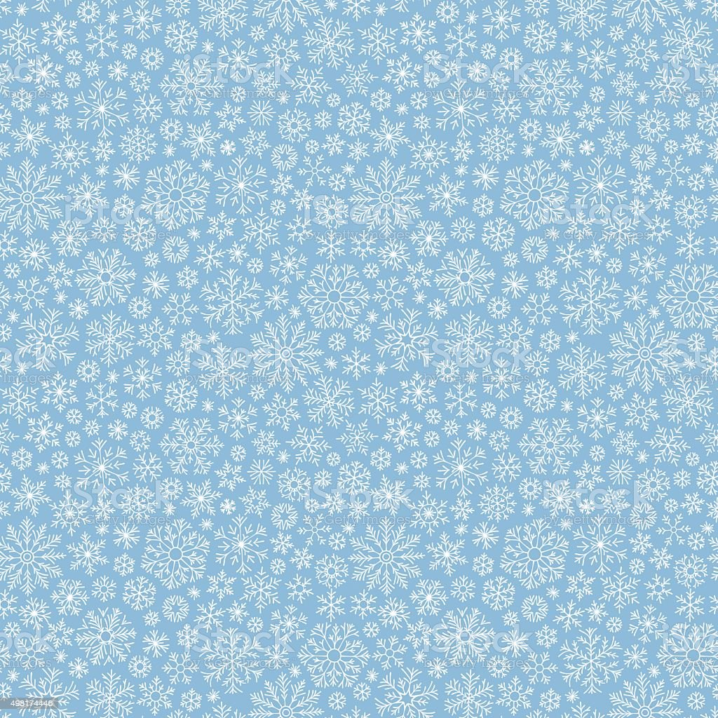 Christmas seamless doodle pattern with snowflakes vector art illustration