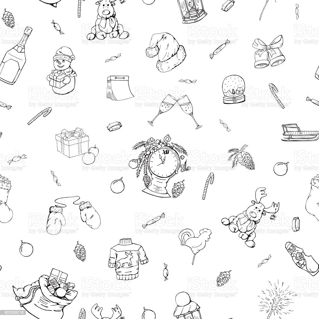 Christmas seamless pattern in doodle style. vector art illustration