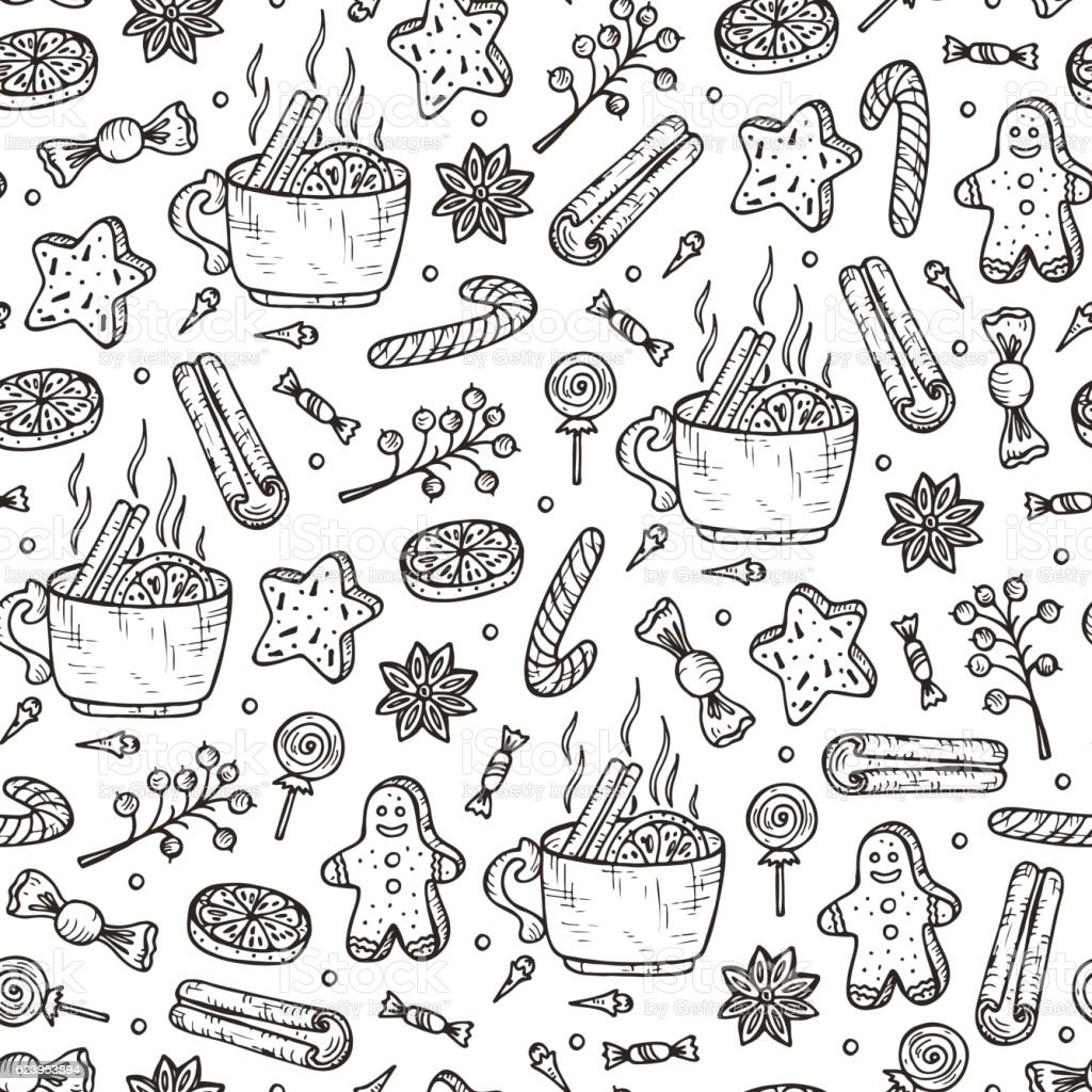 Christmas seamless pattern. Mulled wine, spices, gingerbread cookies. Holiday wallpaper vector art illustration