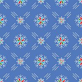 Christmas seamless pattern snowflakes Blue background line art style