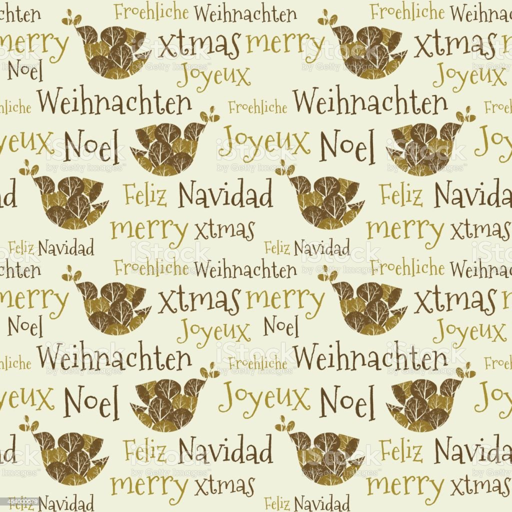 Christmas seamless pattern text peace pigeon languages royalty-free stock vector art