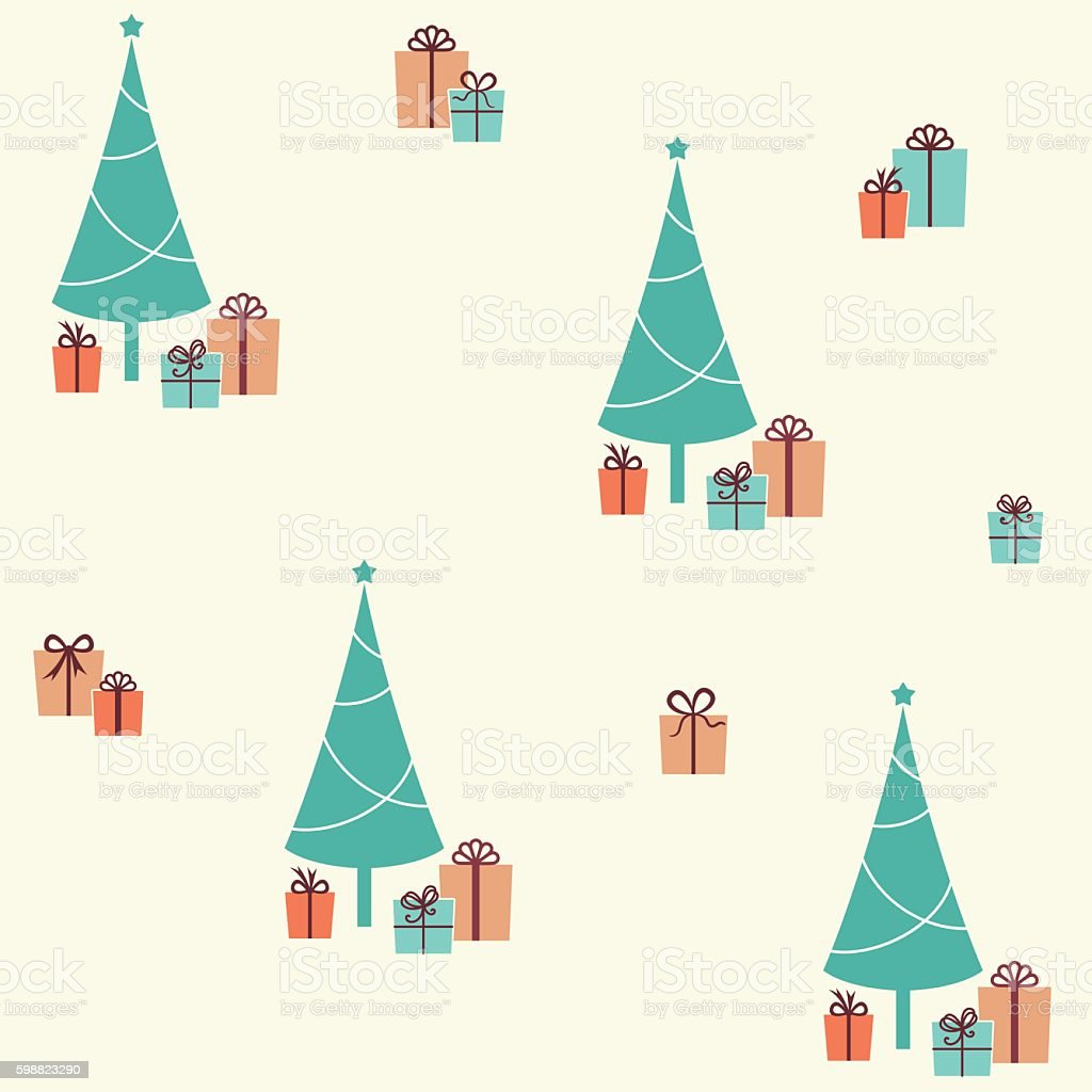 Christmas seamless pattern with fir tree and presents vector art illustration