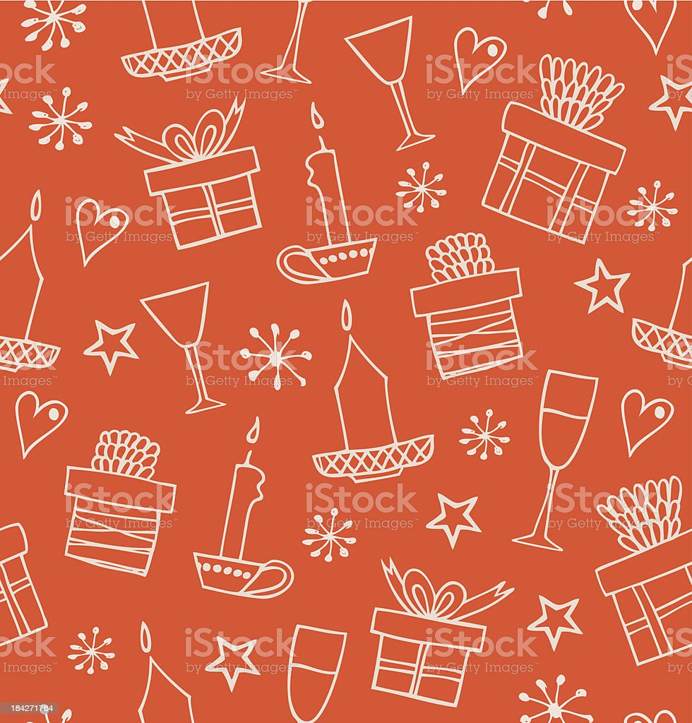 Christmas seamless pattern with gifts, candles, goblets royalty-free stock vector art