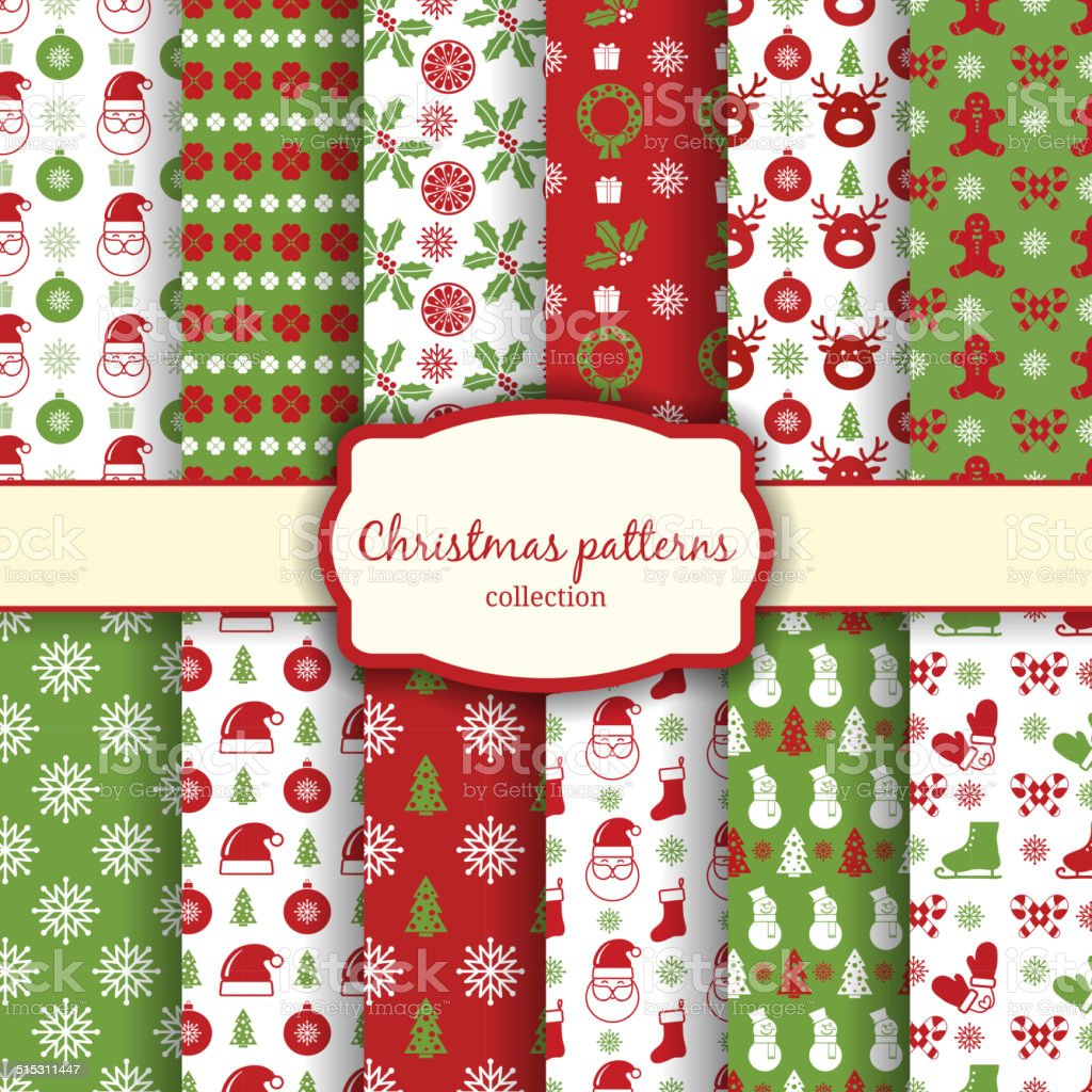 christmas seamless patterns set vector art illustration