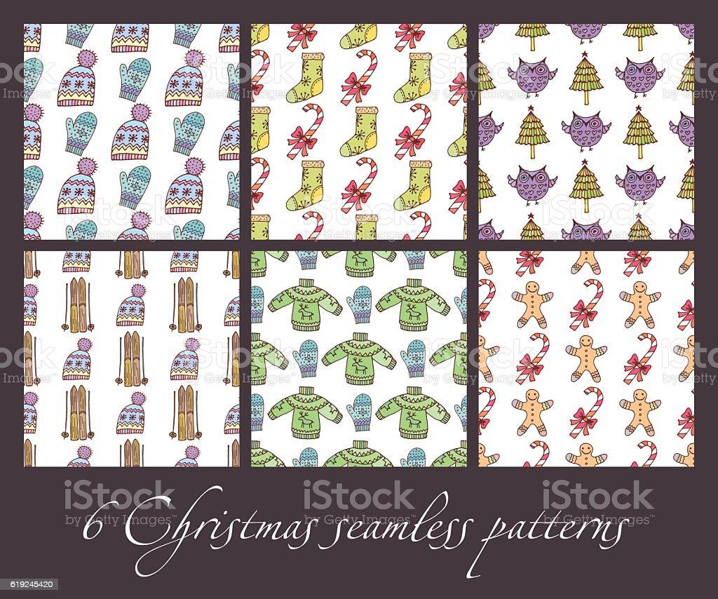 Christmas seamless patterns royalty-free stock vector art