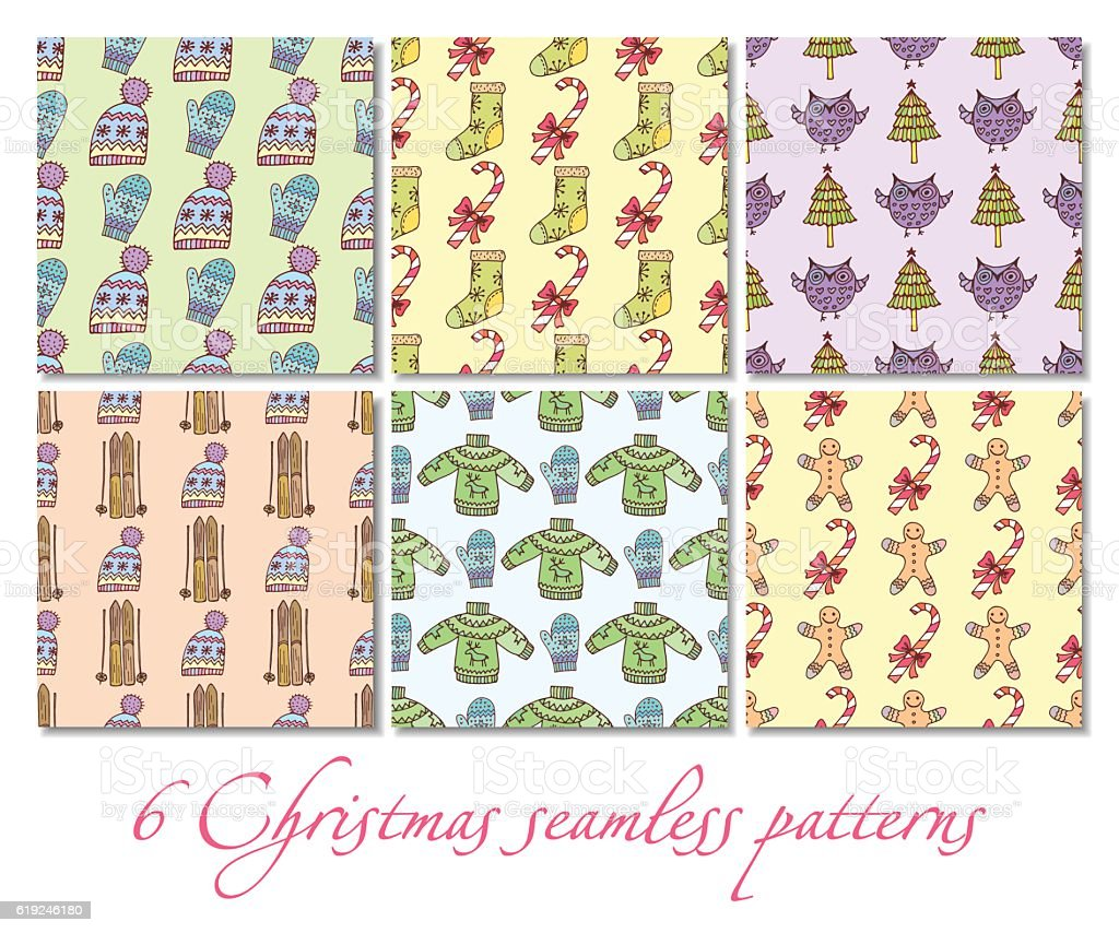 Christmas seamless patterns royalty-free stock vector art