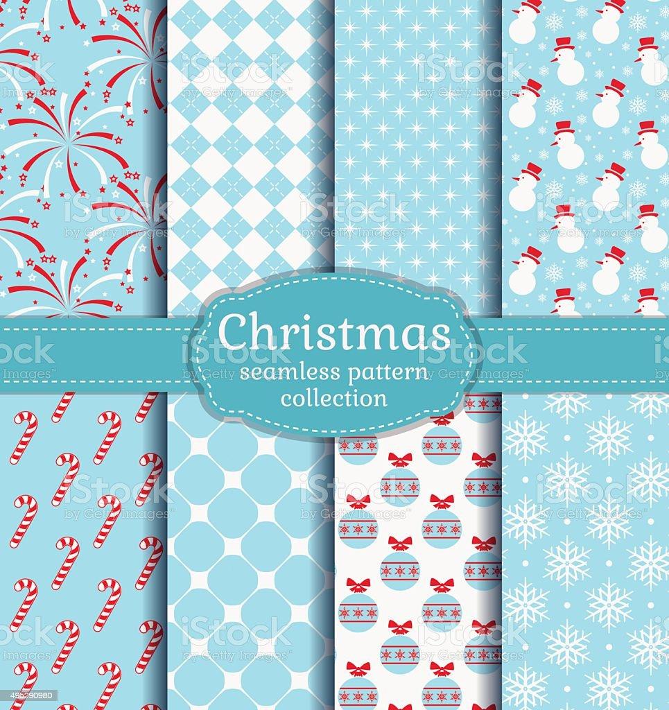 Christmas seamless patterns. Vector set. vector art illustration