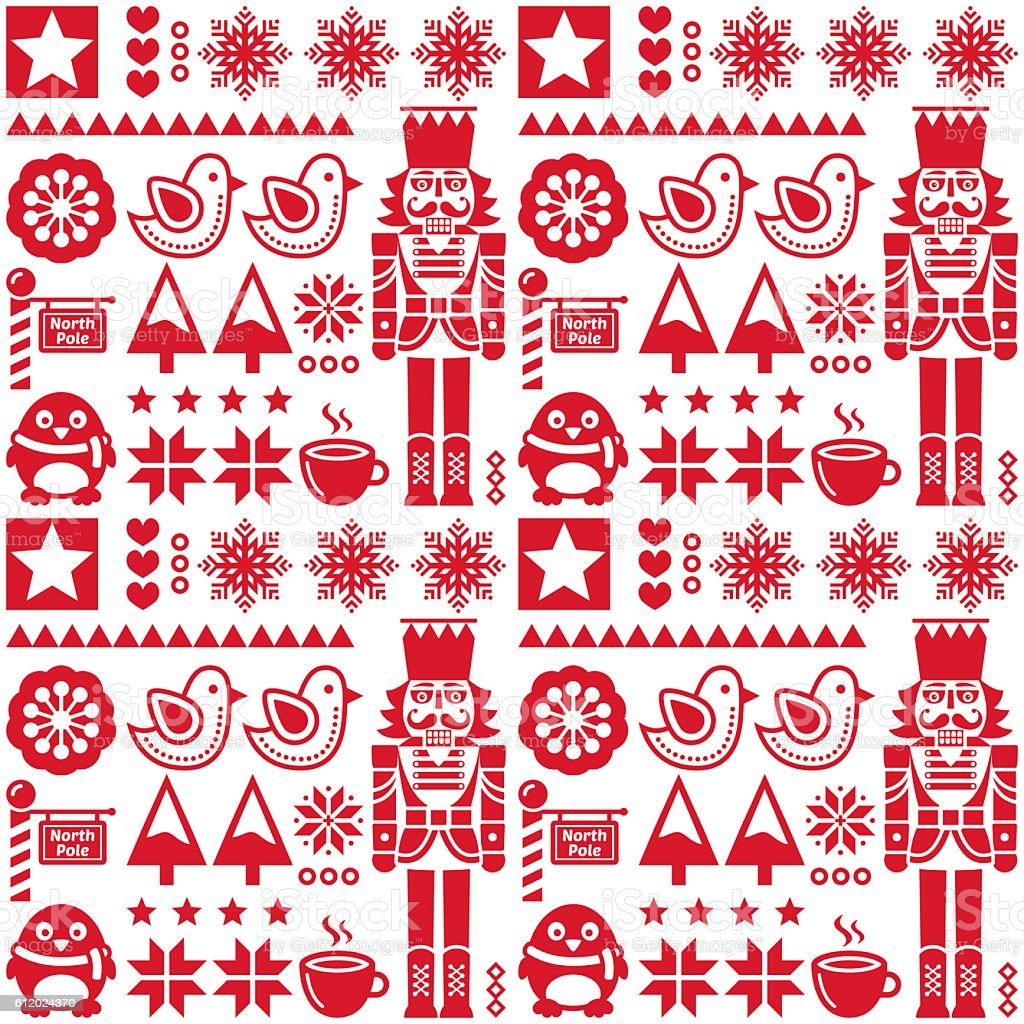 Christmas seamless red pattern with nutcracker - folk art style vector art illustration