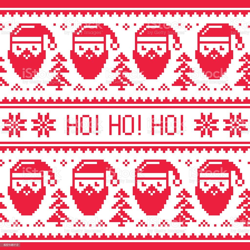 Christmas seamless red pattern with Santa and snowflakes vector art illustration