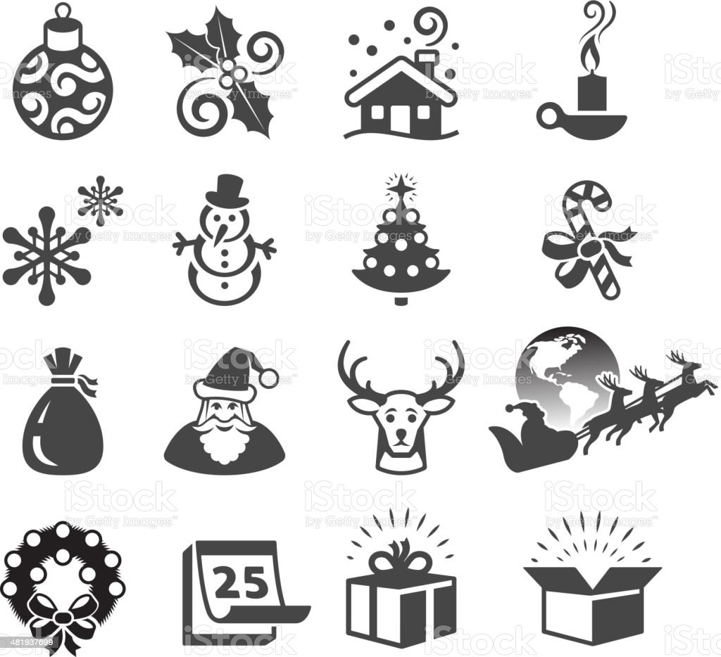 Christmas Season and Traditions black & white vector icon set. royalty-free stock vector art