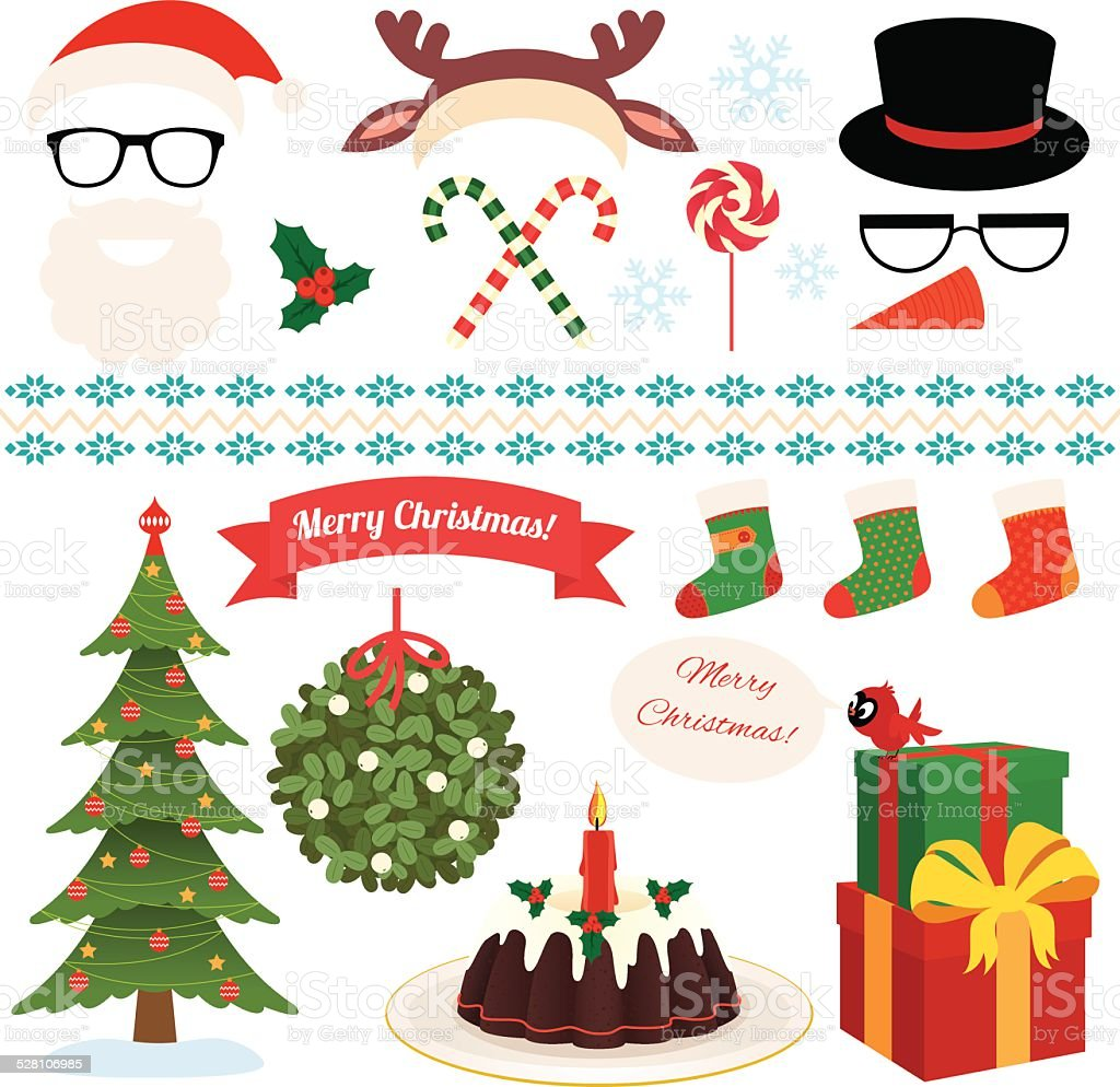 Christmas Set of celebratory symbols vector art illustration