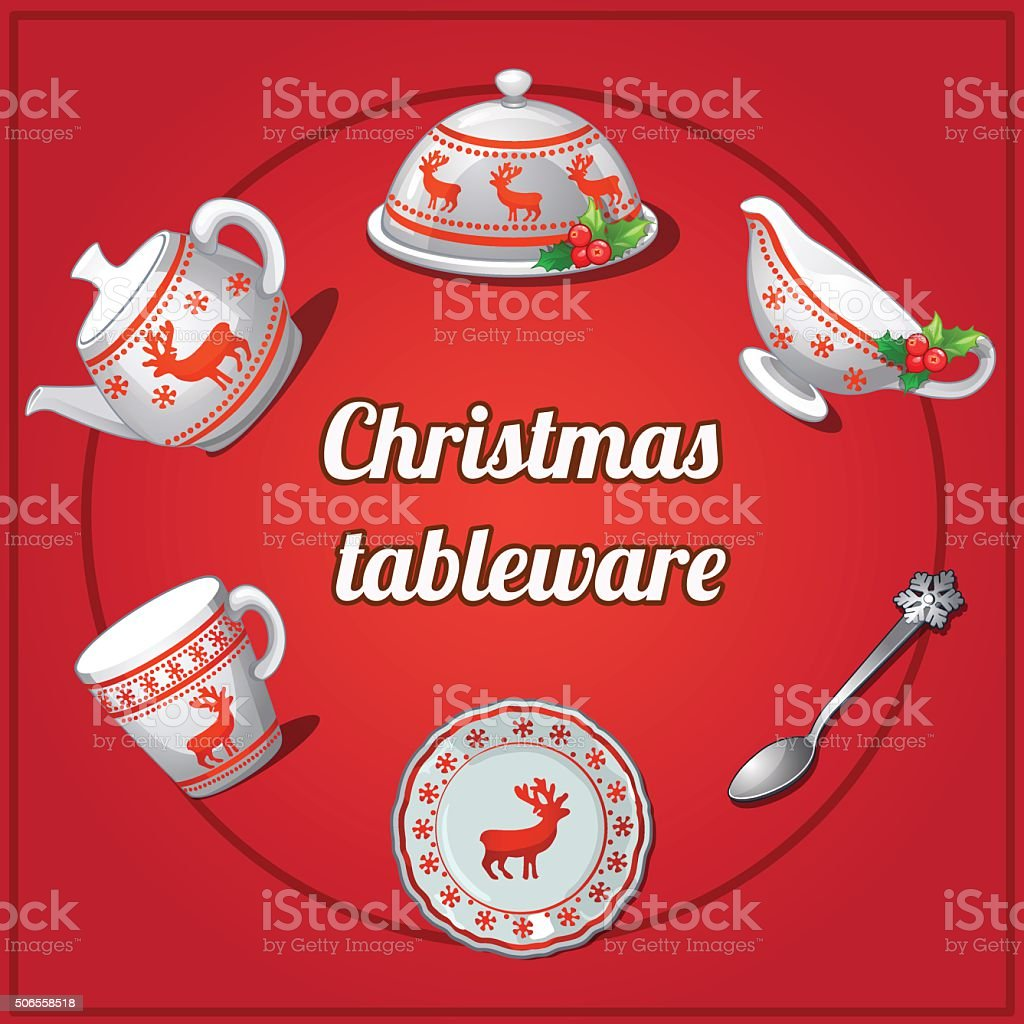 Christmas set of dishes, 6 elements with reindeer vector art illustration