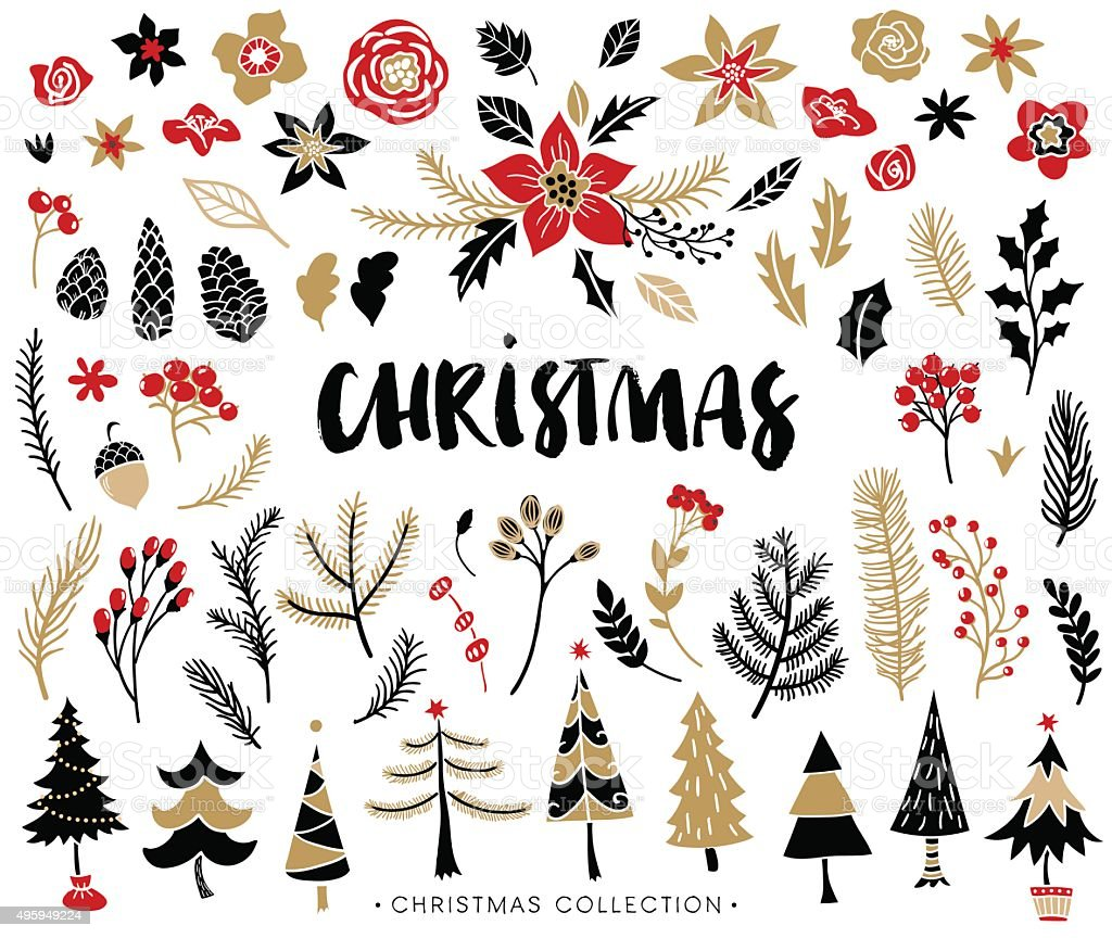 Christmas set of plants with flowers and christmas trees. vector art illustration