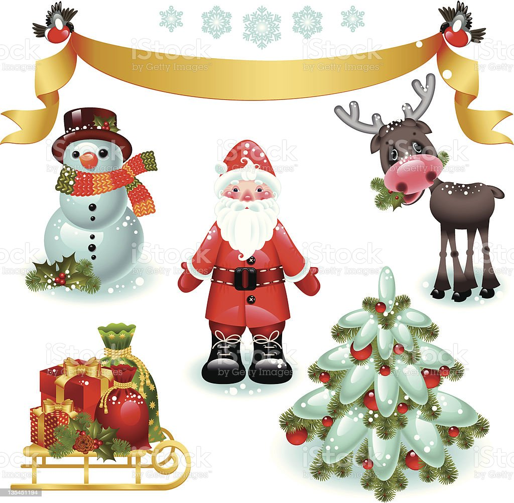 Christmas set. Santa and tree royalty-free stock vector art