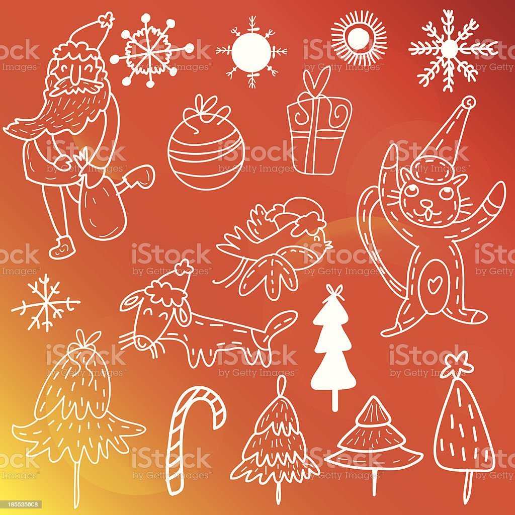 Christmas set-Winter Doodles royalty-free stock vector art