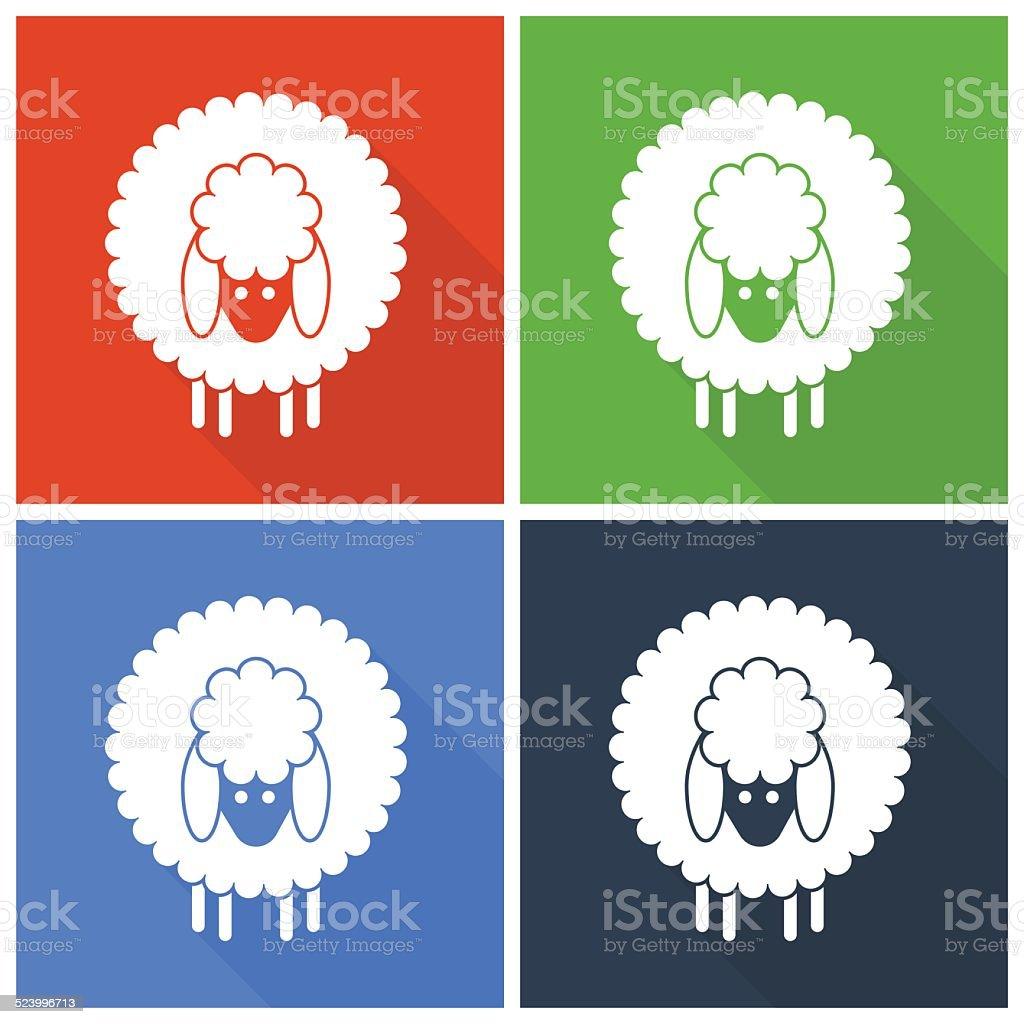 Christmas sheep icons vector art illustration