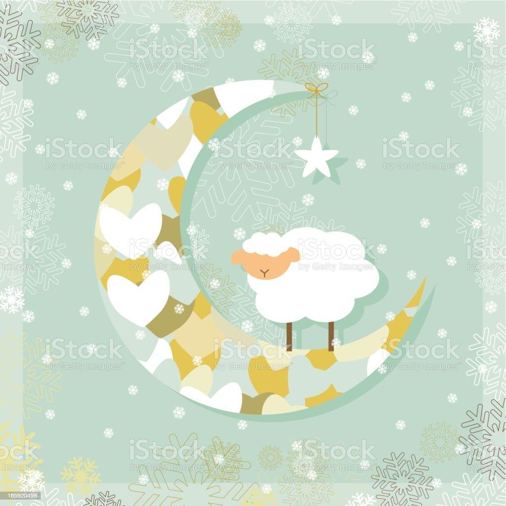 Christmas sheep on the moon vector art illustration