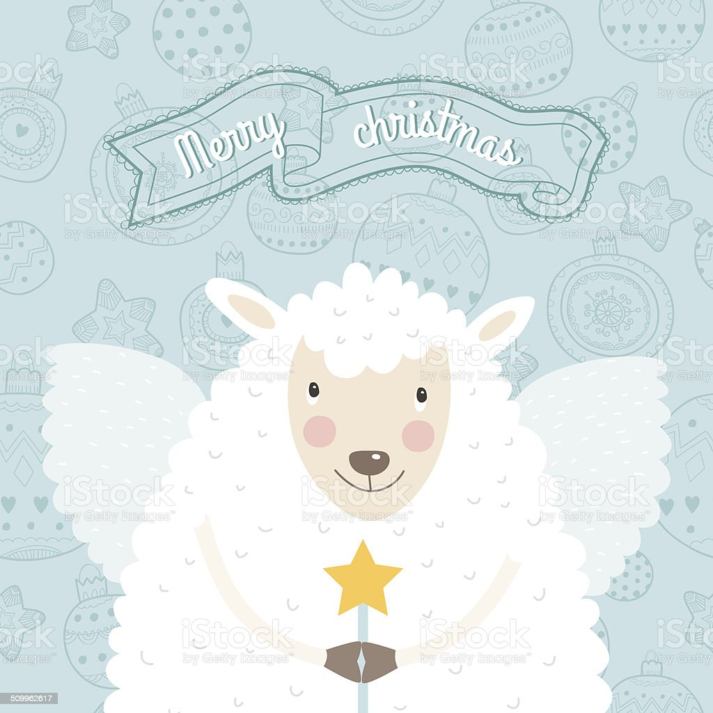 Christmas sheep with wings and a magic wand royalty-free stock vector art