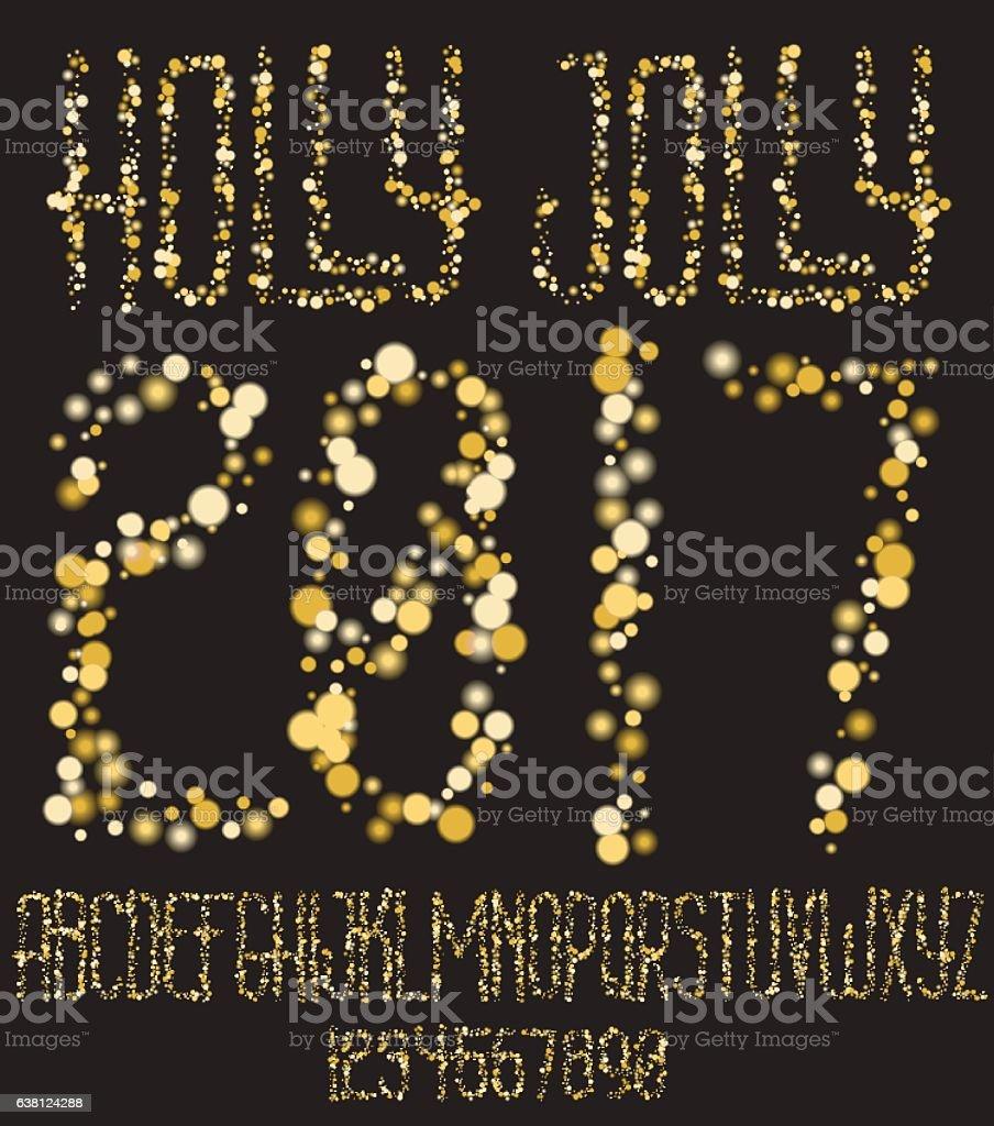 Christmas shining gold glitter font vector art illustration