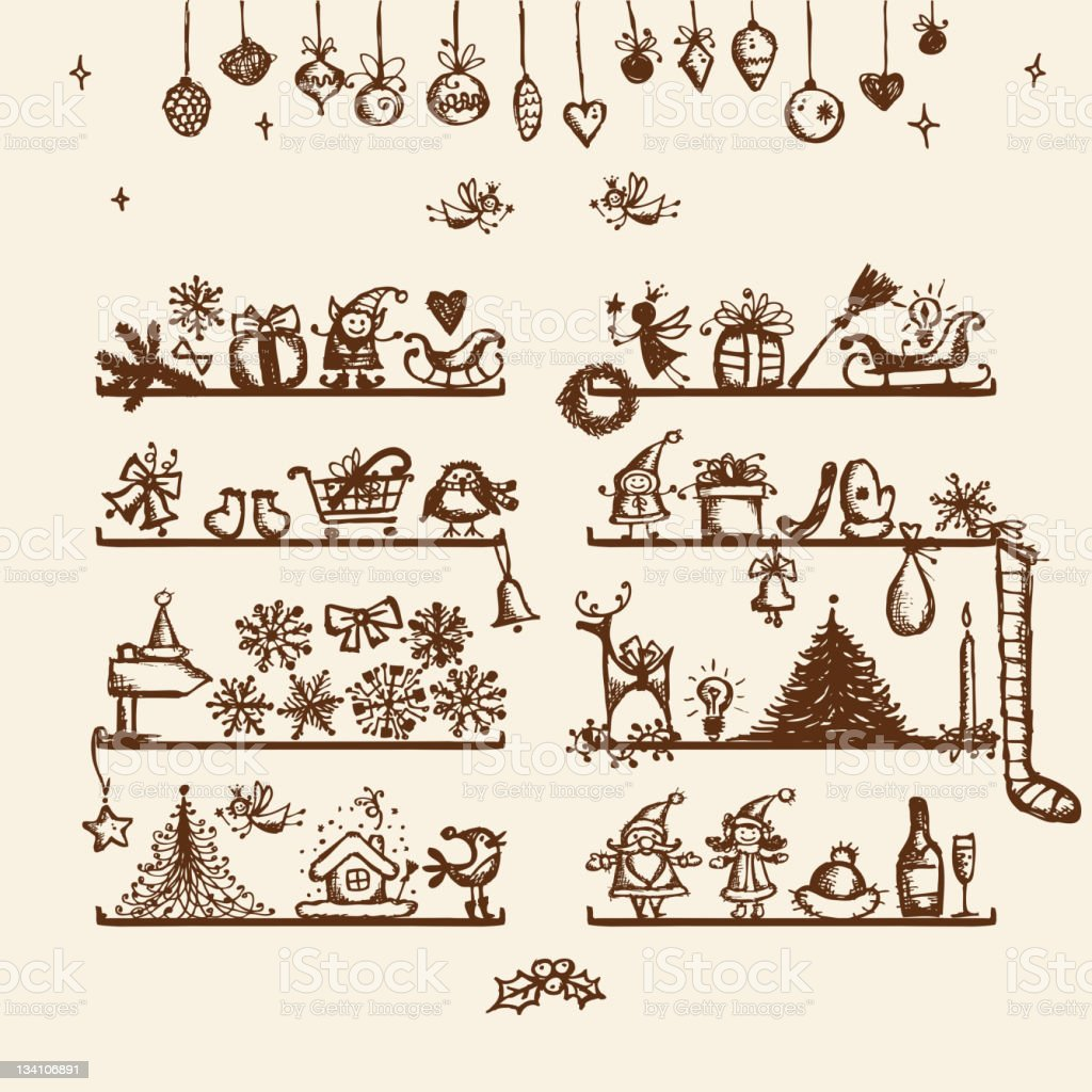 Christmas shop, sketch drawing for your design royalty-free stock vector art