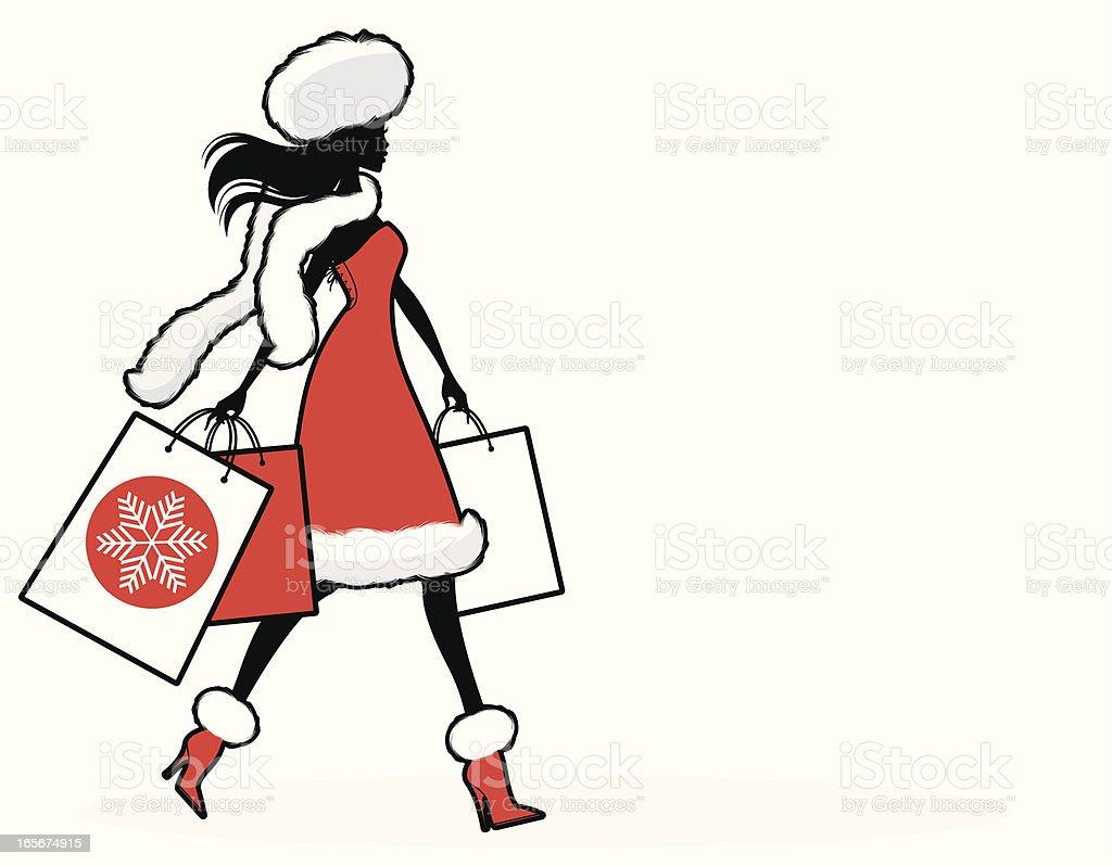 Christmas Shopper vector art illustration