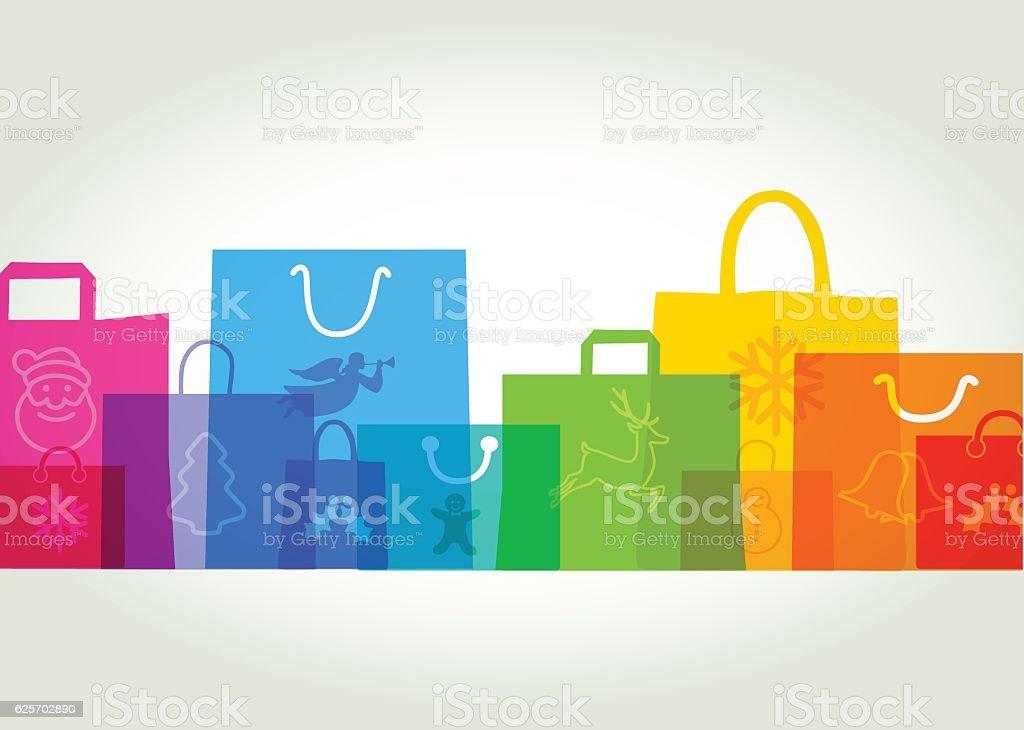 Christmas Shopping bags - Gift bags vector art illustration