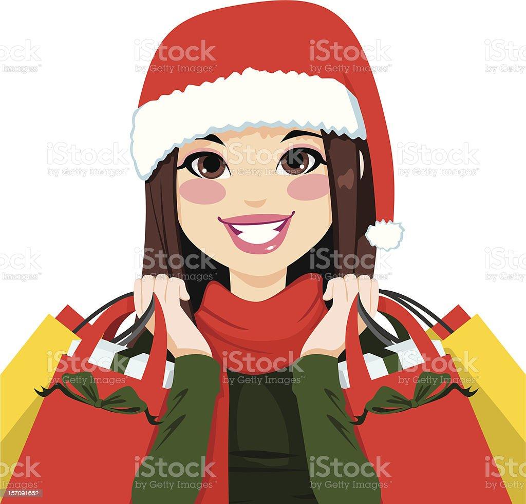 Christmas Shopping Brunette royalty-free stock vector art