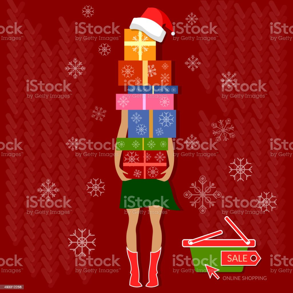 Christmas shopping christmas sale gifts holidays concept vector art illustration