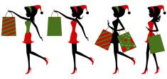 Christmas shopping girls vector art illustration