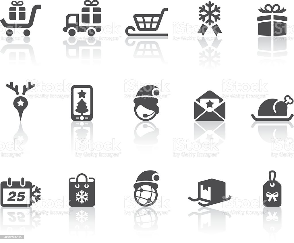 Christmas Shopping Icons | Simple Black Series royalty-free stock vector art