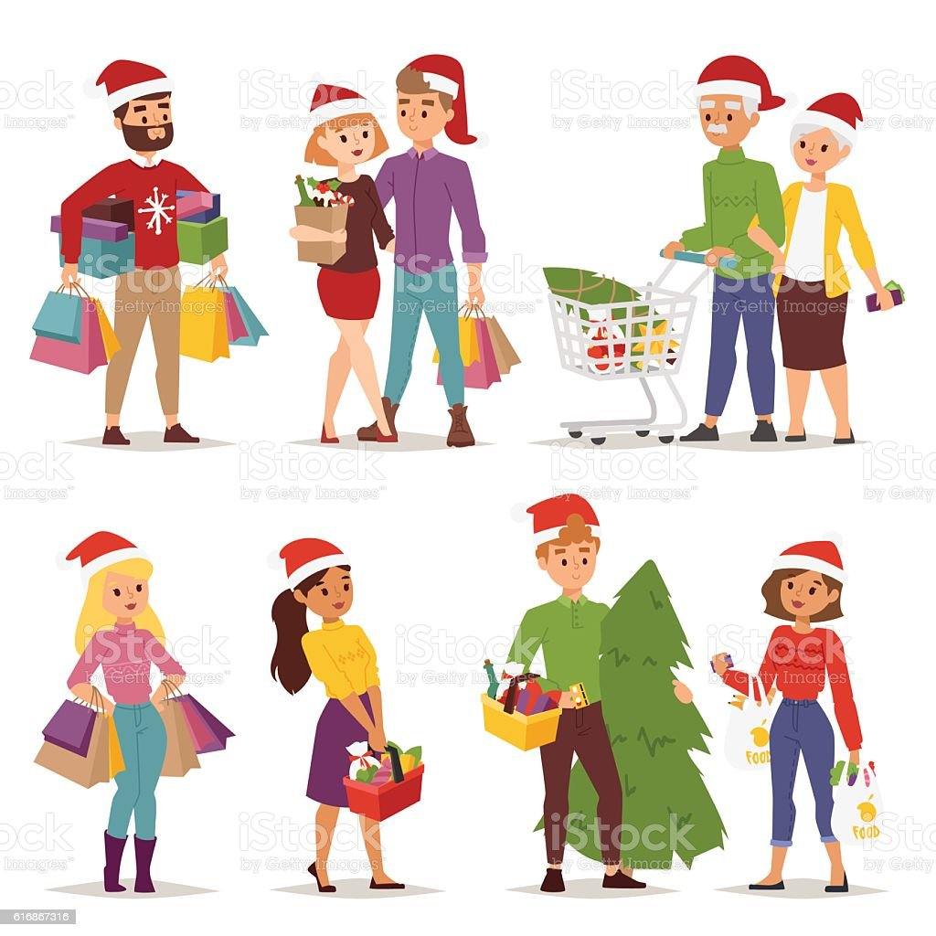 Christmas shopping people vector vector art illustration