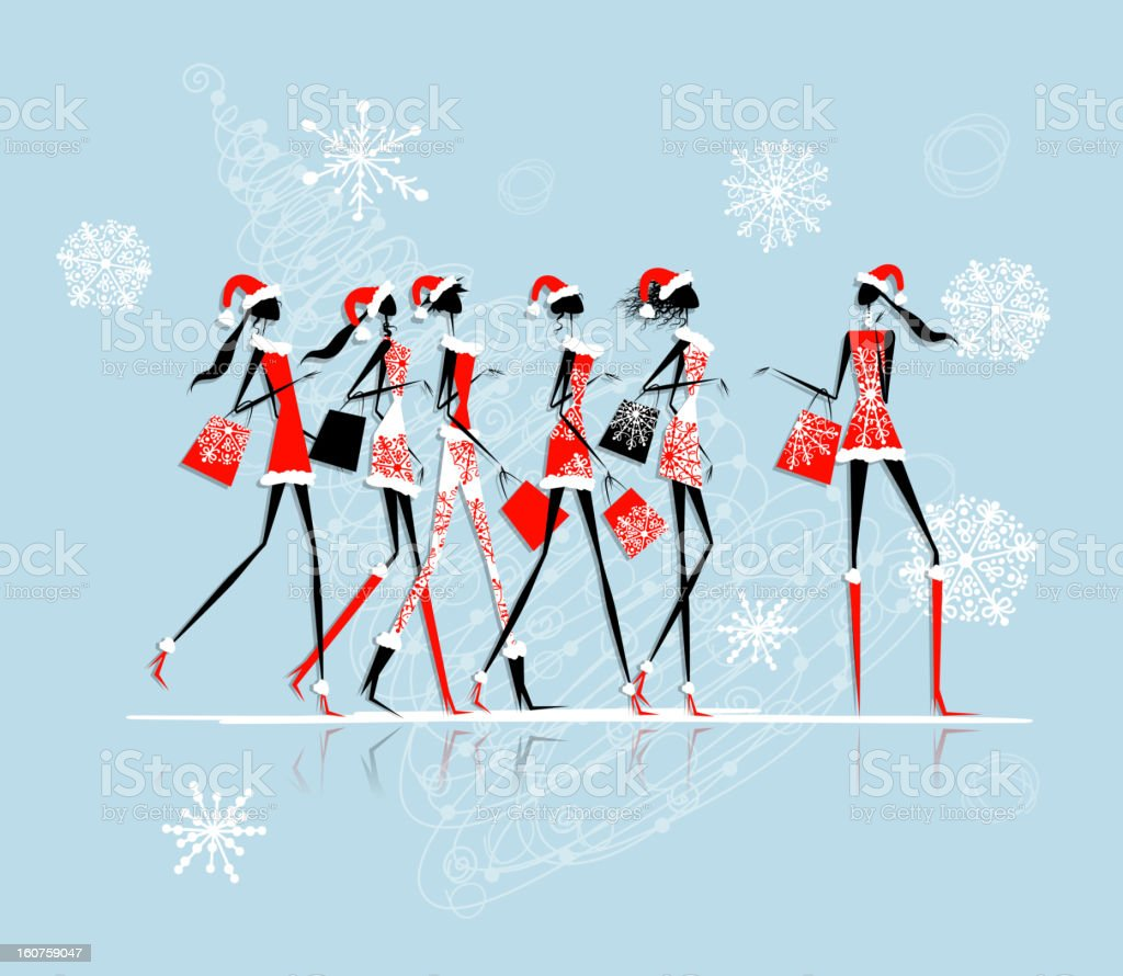 Christmas shopping, santa girls with bags royalty-free stock vector art